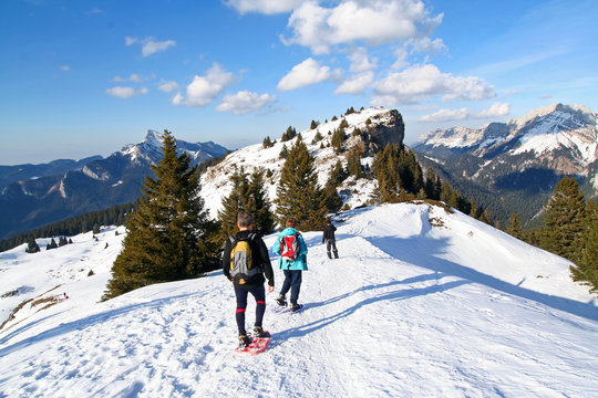 winter trekking in the alps