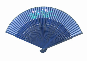 Blue Asian fan, isolated on white background