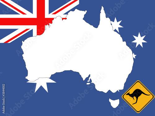 Map Of Australia With Flag And Kangaroo Sign Background Stock - Australia map kangaroo