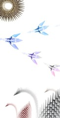 Colored origami swans on white background