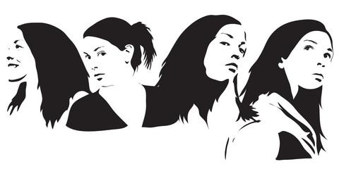 four female black and white silhouettes