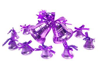 violet Christmas handbells on white background