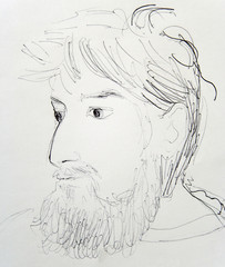 Man with Beard: artistic hand draw..