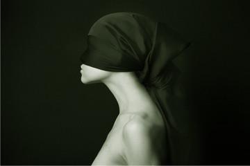Obraz Naked (nude) woman with  black bandage.  Artistic photo. - fototapety do salonu