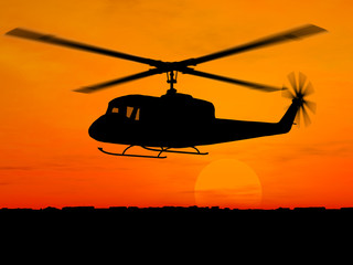 Helicopter 3d military over orange sky