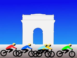 Cyclists and Arc de Triomphe Paris