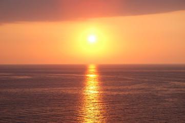 Sunset near Baku at the Caspian  Sea