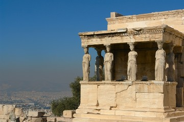 Porch of the caryatids, in Athens akropolis