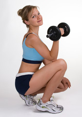 Pretty Blonde With Weights