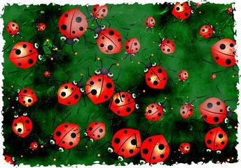 grunge ladybugs