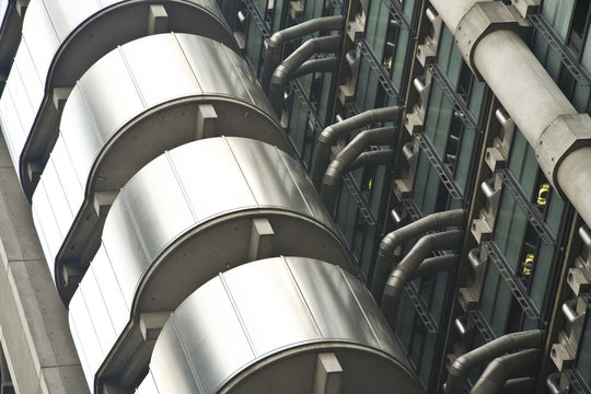 detail of the lloyds skyscraper in londons city