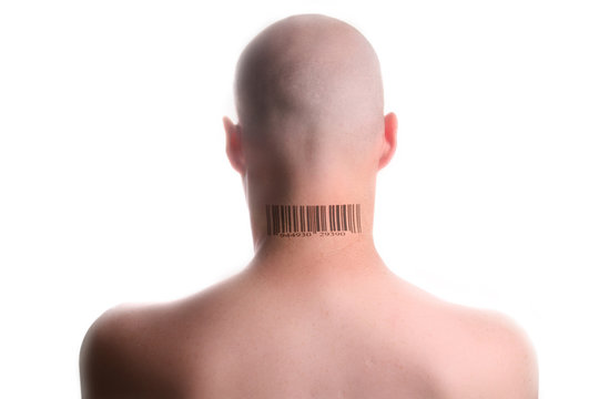 Man with barcode tattooed on the back of his neck.