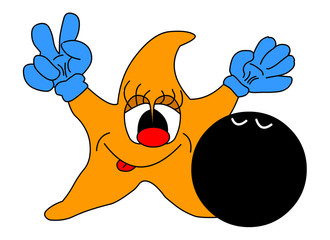 merry star with bowling ball
