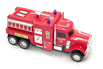 series object on white - toy fire-engine