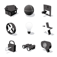 white 3D icon set 01