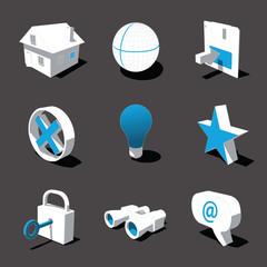 blue-white 3D icon set 01
