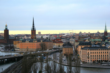 View on Stockholm from observation tower, winter evening.