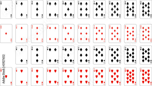 Quot Numbers Playing Cards Excluding Ace Of Spades Quot Stock