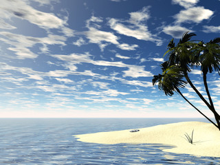 3D rendered tropic island with blue cloudy sky