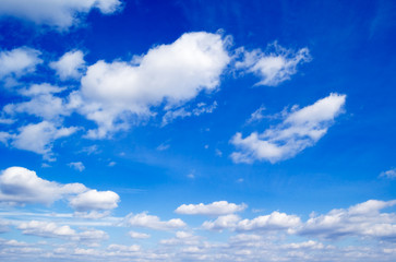 The beautiful white clouds on background blue sky.