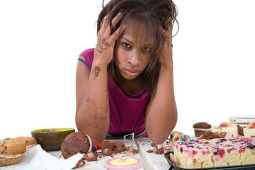 Pretty black woman looking desperate
