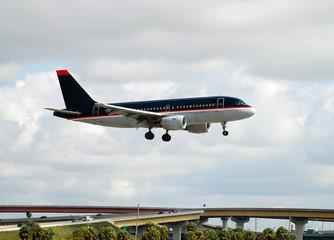 Small passenger jet landing