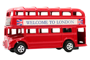 Printed roller blinds London red bus Toy Red Double Decker Bus