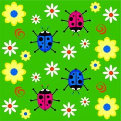 Poster Ladybugs funky ladybug background