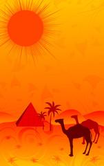 Desert with camels, element for design, vector illustration