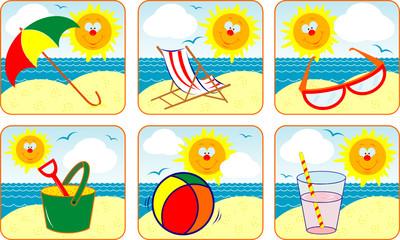 Icons set Summer & Sun, vector illustration