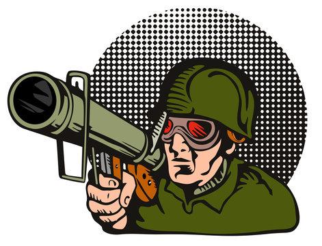 Soldier aiming  a bazooka at the camera