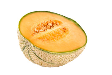 A half of melon isolated on white