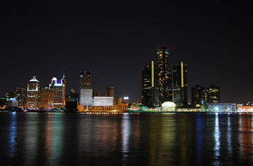 Night time skyline of typical American city (Detroit)