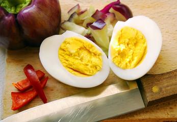Egg, pepper and knife