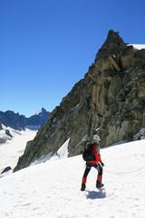 Alpiniste  sur le glacier d'Argentiere
