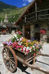 Village de montagne et charrette de fleur
