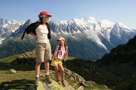 Randonnée et contemplation du massif du Mont-blanc