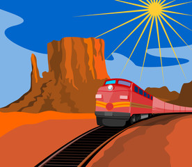 Aluminium Prints Wild West Train travelling with canyon in background