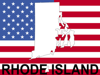 map of Rhode Island on flag