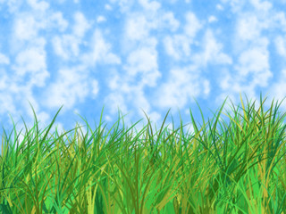 Green grass of home on blue cloudy sky - digital illustration