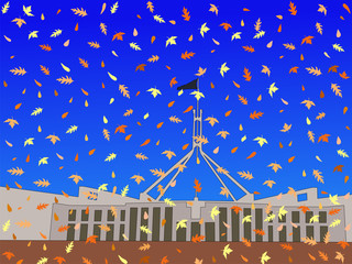 Australian parliament in autumn