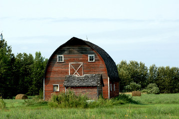 Farm land with Red Barn
