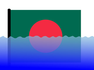 bangladeshi flag in flood