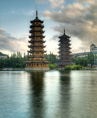 Pagodas in Fir Lake in downtown Guilin