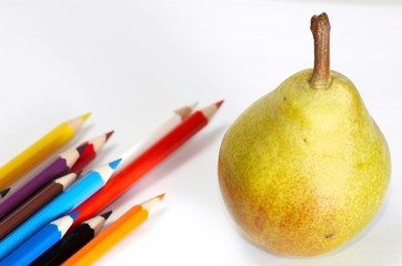 Pencils-set and yellow pear