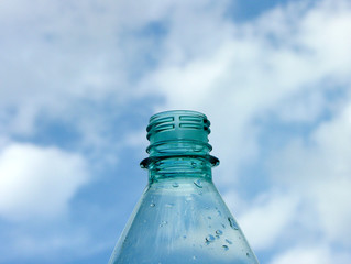 blue water bottle and sky