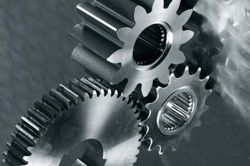 industrial gears in metallic blue