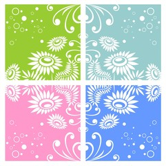 Four floral backgrounds