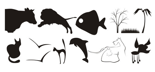 some silhouettes of animals and plants