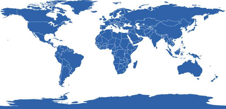 Carte du monde unie avec frontières pays